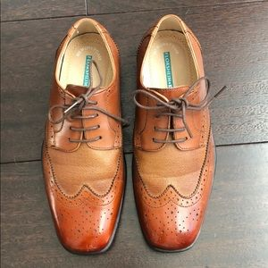Boys light brown leather dress shoes